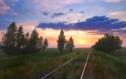 Закат в Надеждино Омская область